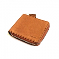 Oil Pull up Leather Zipper Wallet (brown)