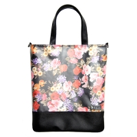 PLAIN SLIM TOTE (FLOWER BLACK)