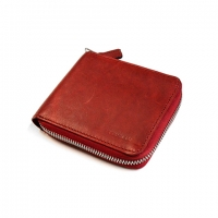 Oil Pull up Leather Zipper Wallet (red)